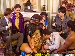 Hot interracial group sex at vintage dress-up party