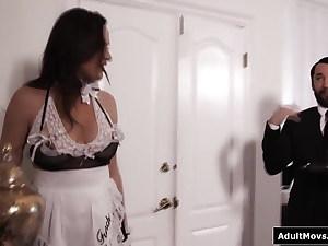 Butler facefucks and assfucks the filthy big tits cougar maid