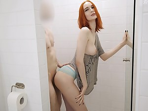 Red-haired with a perfect tight body nailed in the shower