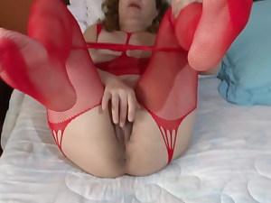 58 yr older hairy mummy strokes in front of her husband