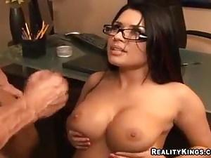 Sexretary Eva Angelina Plumbing On Table At Office 7