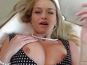 Stylish ash-blonde mom is stretching up broad and getting boned in front of the camera