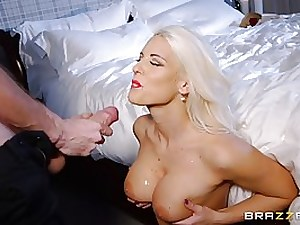 Good looking blond whore, Blanch Bradburry is salivating on her marvelous client's giant meat stick